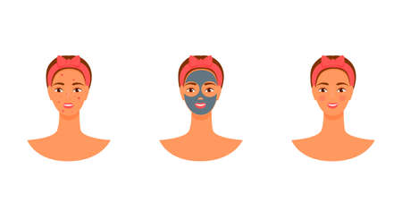 vector yang woman face mask. acne before and after. skin care flat illustration.