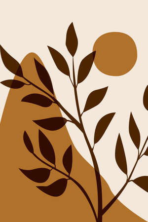 Boho herbs, plants, bohemian silhouette vector illustration print, leaves, leaf poster, print sun. Abstraction, the design is minimalism. Vektorové ilustrace