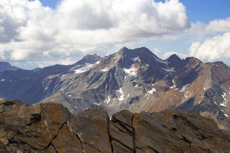 Panoramic view of Saldurspitze and Lagaunspitze situated at the end of Val Senales (Schnalstal / South Tyrol) in the ?tztal alps Stock Photo