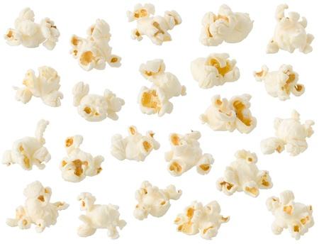 palomitas de maiz: Palomitas aisladas sobre fondo blanco