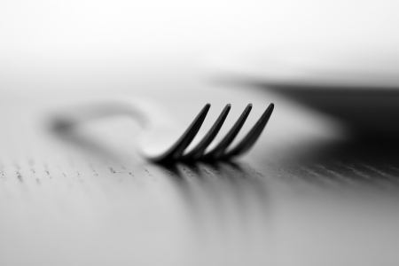 bw: Fork and plate in B&W Stock Photo