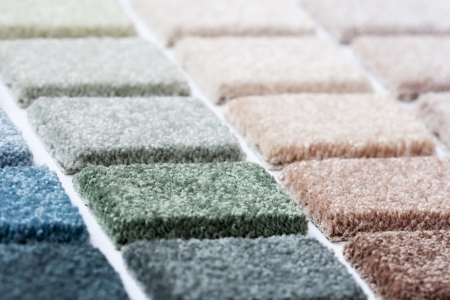 Carpet samples in many shades and colors  Imagens