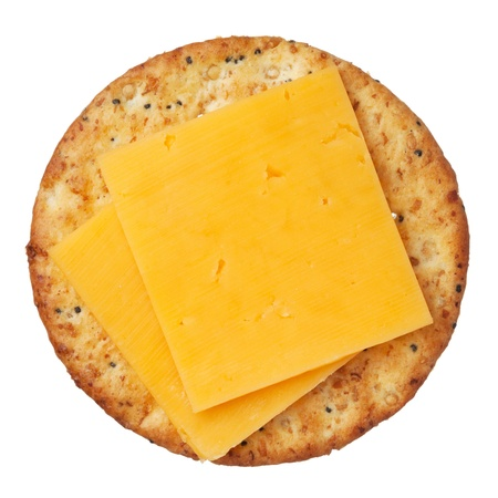 cheddar: Whole wheat cracker and cheese, isolated on white background, close-up.