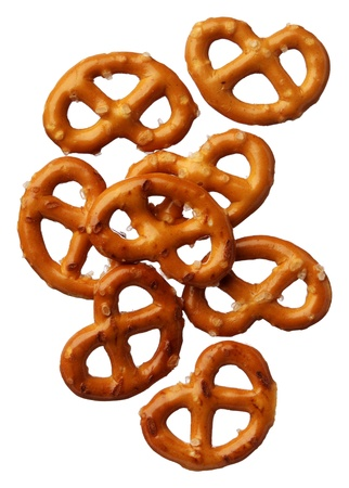 Pretzels isolated on white background, close-up photo