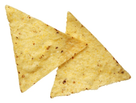Corn tortilla chips isolated on white background