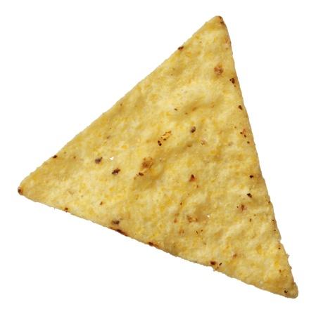 corn chip: Corn tortilla chip isolated on white background Stock Photo