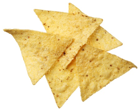 Tortilla chips isolated on white background 写真素材