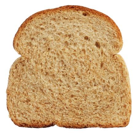 Slice of wholewheat bread isolated on white background Archivio Fotografico