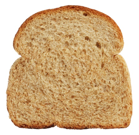 Sneetje volkoren brood op een witte achtergrond