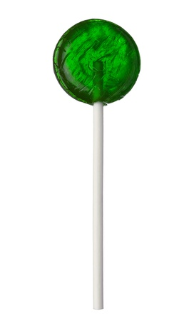 One green lollipop isolated on white background, close-up. This image is isolated with light during the photo shoot process. Imagens