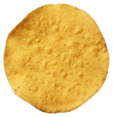 close up food: Corn tostada isolated on white background