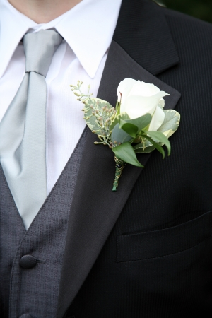 A Boutonniere on a Suit of a man