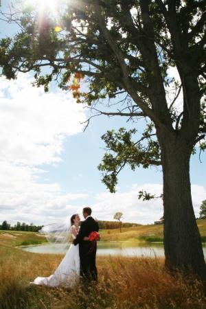 笑みを浮かべてポーズを抱いて結婚式のカップル