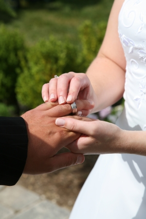 Bride and Groom exchanging wedding rings photo