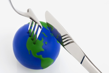World globe ball with fork and knife photo