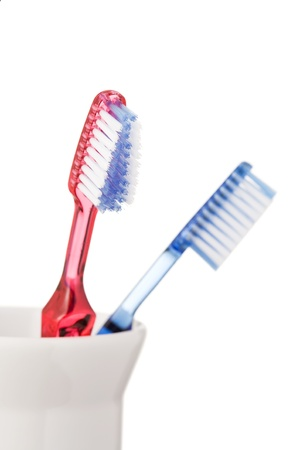 Toothbrushes isolated on white background photo
