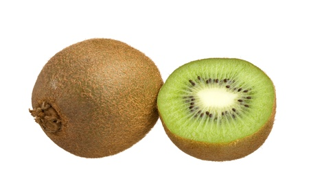 two and a half: Kiwi cut in half isolated on white background