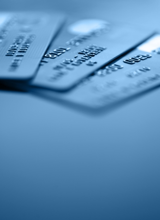 business cards: Bank credit cards and copy space