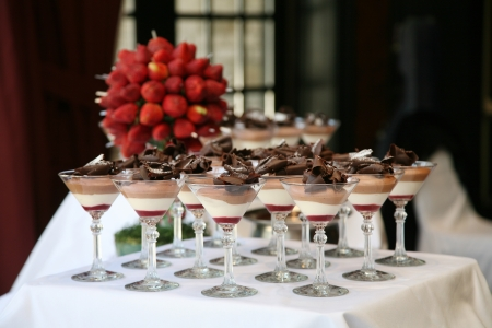 mousse: Dessert Table at Wedding Reception Stock Photo
