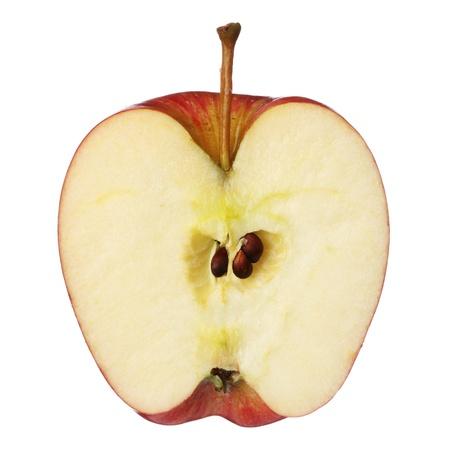 절반 사과 흰 배경에 고립 된