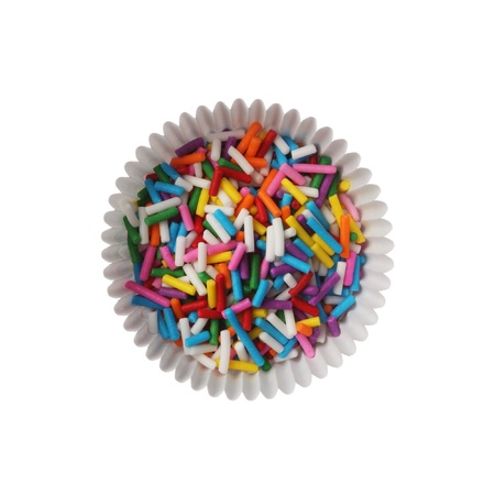 Colorful candy sprinkles isolated on white background photo