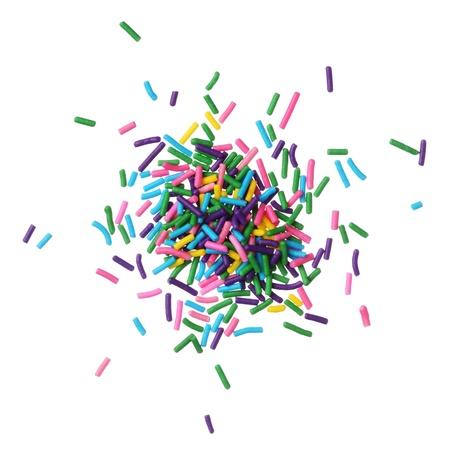 Caramelle colorate spruzza mucchio isolato su sfondo bianco Archivio Fotografico - 18409333