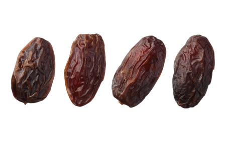 dates fruit: Dried medjool dates isolated on white background