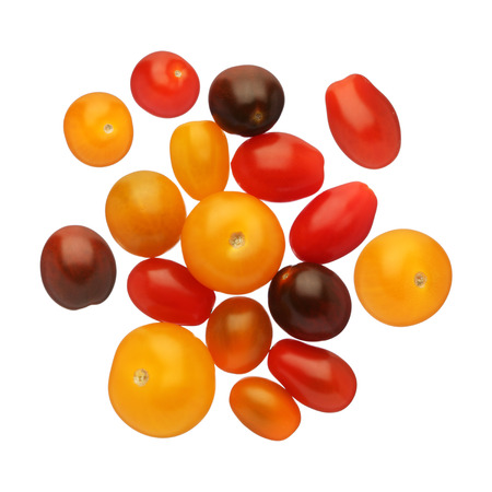 Cherry tomatoes isolated on white background, close up Stock Photo