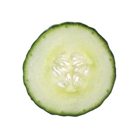 Fresh cut cucumber isolated on white background, close up Reklamní fotografie