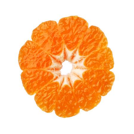 Clementine tangerine half isolated on white background photo