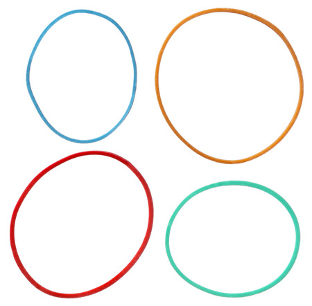 stretchy: Colorful elastic rubber bands isolated on a white background