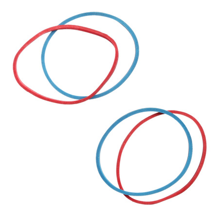 elastic: Red and blue elastic rubber bands isolated on a white background