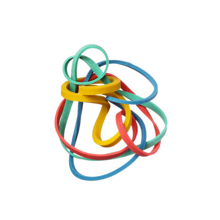 Tangled colorful elastic rubber bands isolated on a white background Фото со стока