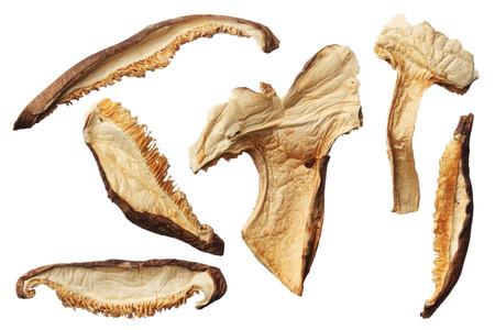 shiitake: Dried shiitake mushroom slices isolated on white background
