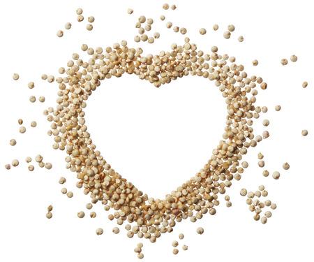 quinoa: Heart of quinoa grain isolated on a white background Stock Photo