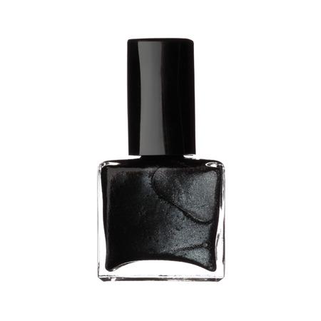nail polish bottle: Single bottle of black nail varnish polish isolated on white background Stock Photo
