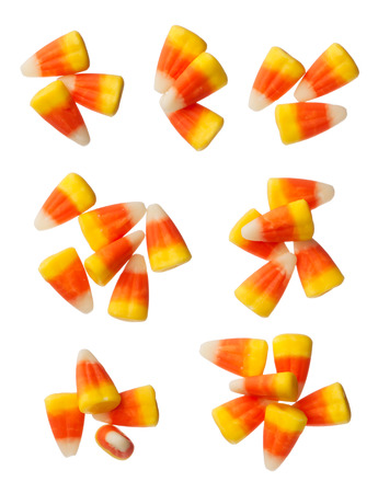 candy corn: Halloween Candy Corns isolated on white background Stock Photo