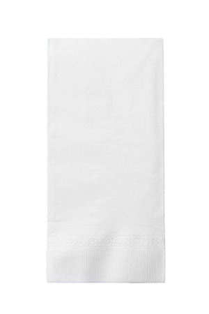 One White Paper Napkin Isolated on White Background Banque d'images