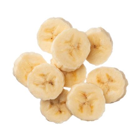 Banana slices isolated on white background, close up photo