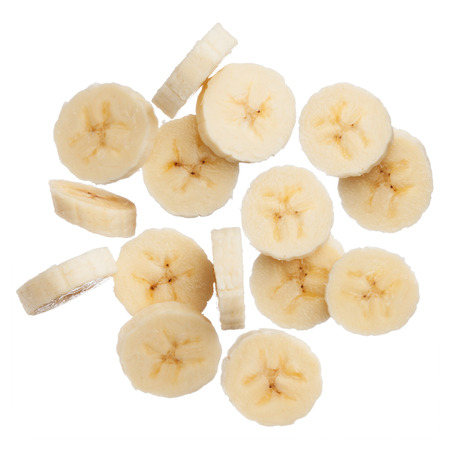 Banana slices isolated on white background, close up