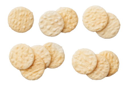 Rice crackers isolated on white background, close up Reklamní fotografie