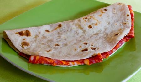 emilia: Italian Piadina with hot salamiItalian Piadina with hot salami