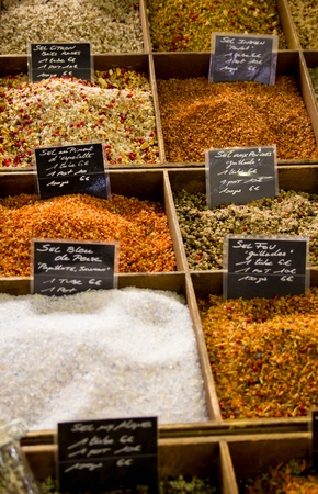 Some different spices in a provencal market photo