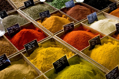 appetize: Some different spices in a provencal market