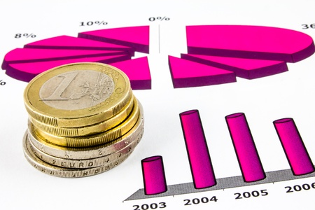 Stack of euro coins and charts Stock Photo - 13145556