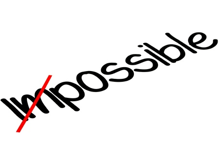 Word impossible transformed into possible, motivation concept photo