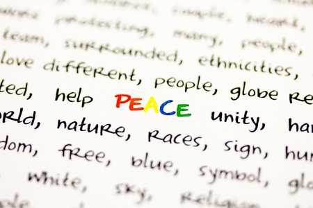 pacification: Word peace with blurred edges