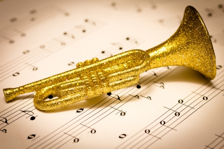musical score: Trumpet on a musical score Stock Photo