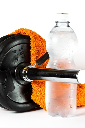 Gym and fitness equipment barbell, water, towel