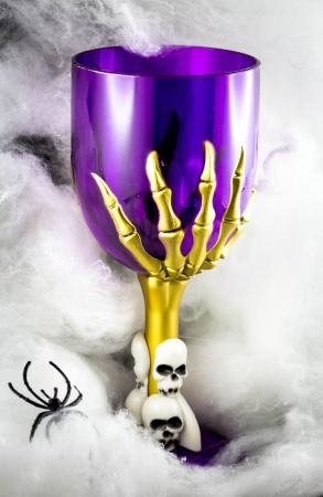 Halloween goblet - steam glass with skulls photo